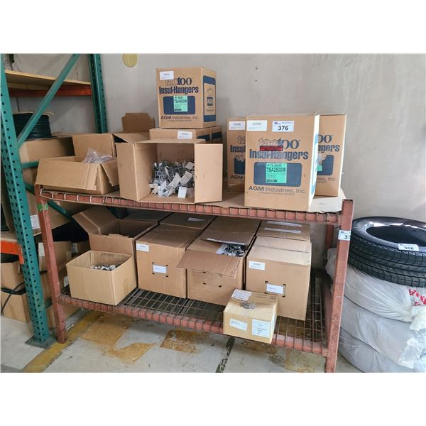 2 SHELVES, APPROXIMATELY 18 BOXES OF SELF ADHERING MILD STEEL INSULATION HANGERS WITH WASHERS