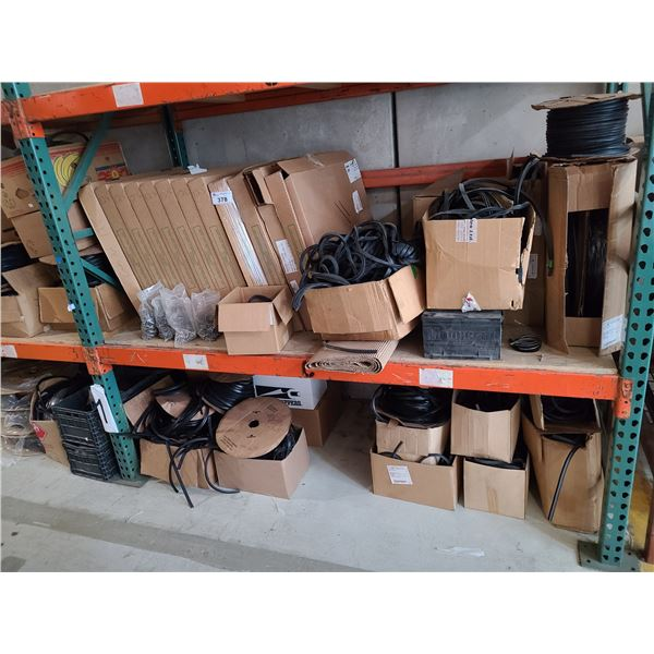 2 SHELVES OF ASSORTED COMMERCIAL DOOR WEATHER PROOF STRIPPING, GLASS AIRSEAL GASKETS AND HARDWARE