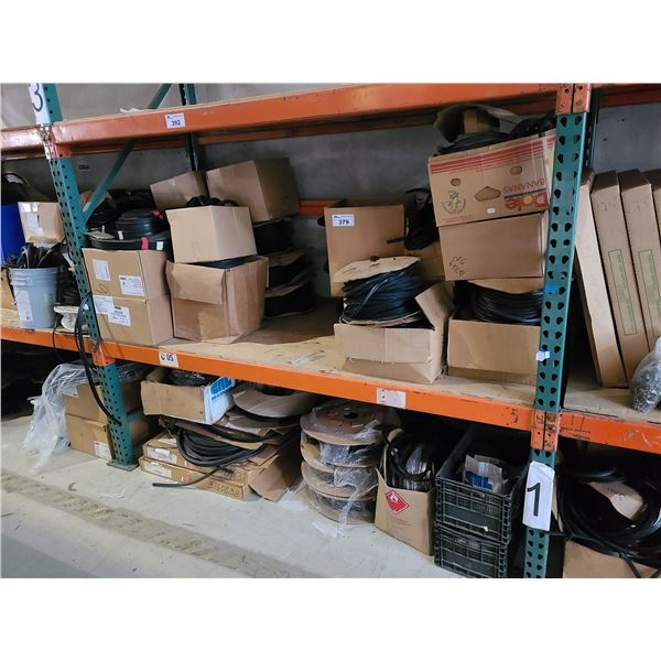 2 SHELVES OF ASSORTED COMMERCIAL DOOR WEATHER PROOF STRIPPING, AND GASKET STRIPPING