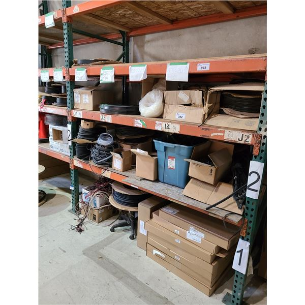 3 SHELVES OF ASSORTED COMMERCIAL DOOR WEATHER PROOF STRIPPING, GASKET STRIPPING, MOBILE COIL CART
