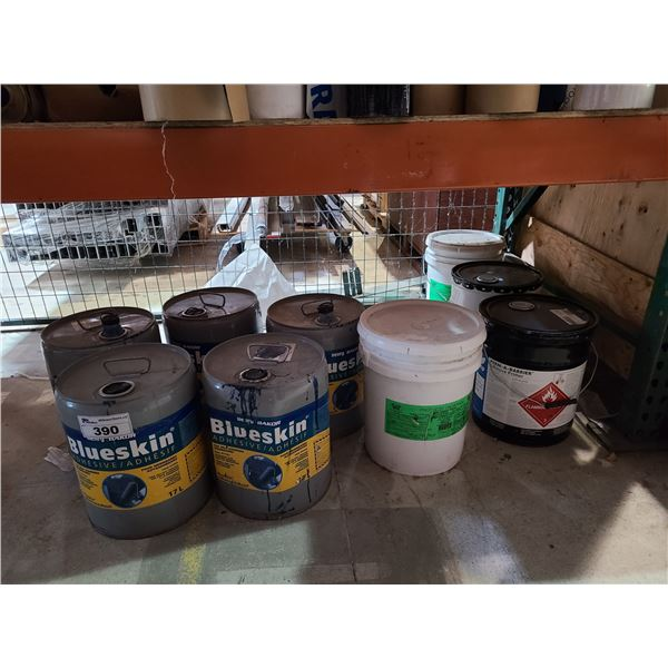 9 ASSORTED PALS OF COMMERCIAL ADHESIVE PRIMER