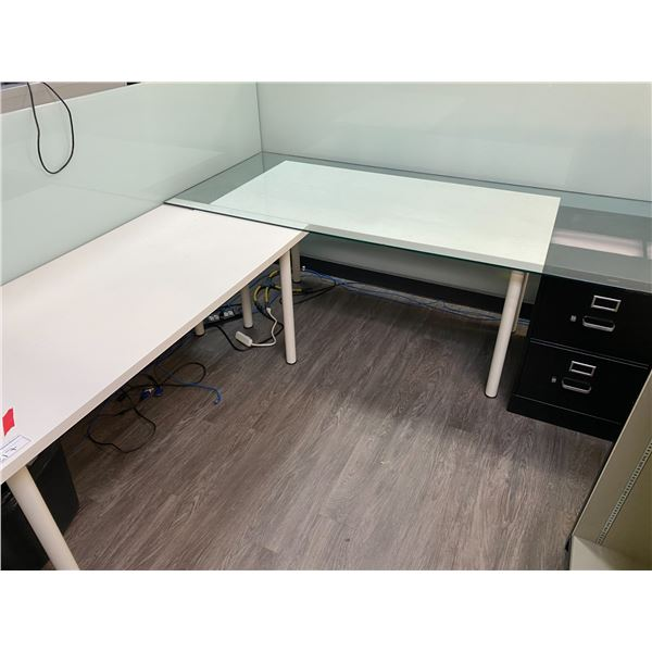 2 X WHITE WORK TABLE WITH 2 DRW. LEGAL FILE CABINET AND BOOKSHELF.  COMES WITH GLASS DESK TOPPER