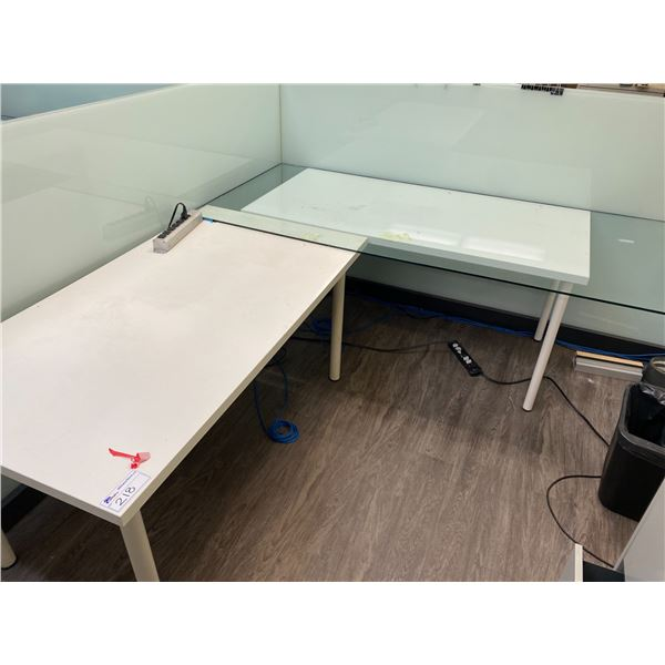 2 X WHITE WORK TABLE COMES WITH GLASS DESK TOPPER