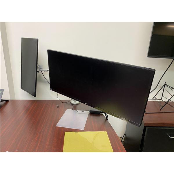 """DOUBLE ARM MONITOR STAND WITH LG 34"""" LCD MONITOR AND LG 24"""" LCD MONITOR"""