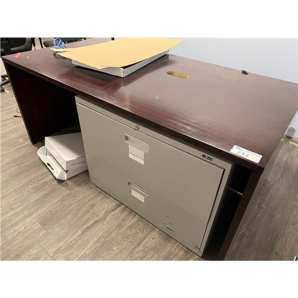 MAHOGANY DESK AND GREY 2 DRW LATERAL FILE CABINET