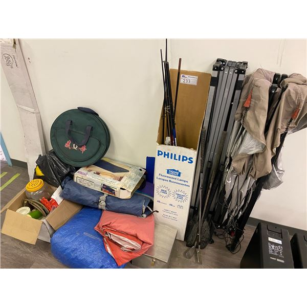 LOT OF MISC. ITEMS INC. 2 FOLDING TENTS, FISHING RODS, TARPS AND MORE