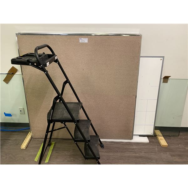 LOT OF MISC. ITEMS INC. 2 OFFICE DIVIDERS, STEP LADDER, GLASS AND WHITEBOARD