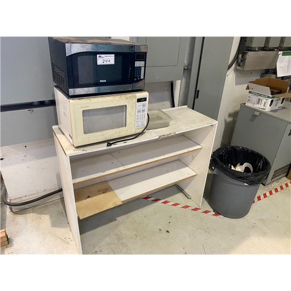 2 MICROWAVE OVENS AND WHITE STAND