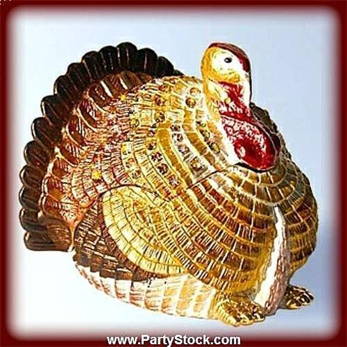 GOLD SWAROVSKI CRYSTAL JEWELRY TURKEY BOX NEW