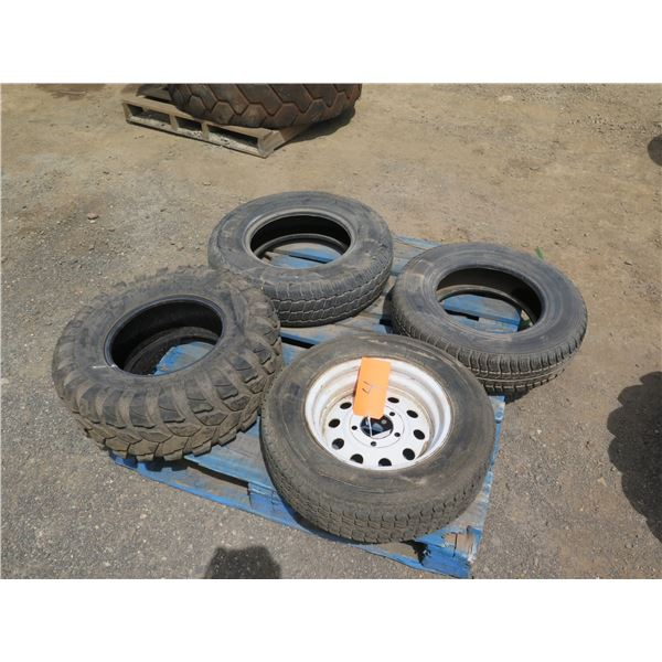Qty 4 Misc. Tires, Various Sizes
