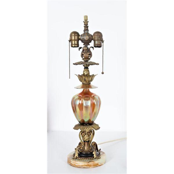 Steuben Melon Shaped Art Glass Lamp