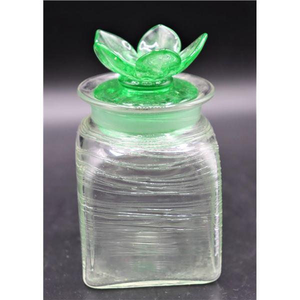 Steuben Green Threaded Vanity Jar