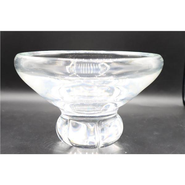 Large Steuben Crystal Footed Bowl, Signed