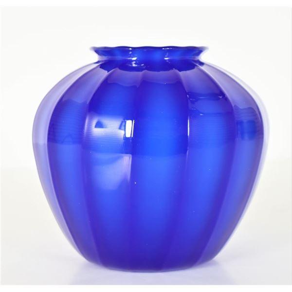 Steuben Cobalt Ribbed Art Glass Vase