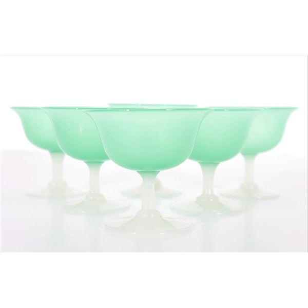 Set of (6) Steuben Green Jade/Alabaster Sherberts