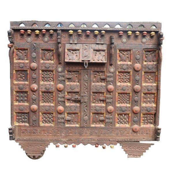Early 19th C Gujarat Indian Carved Blanket Chest