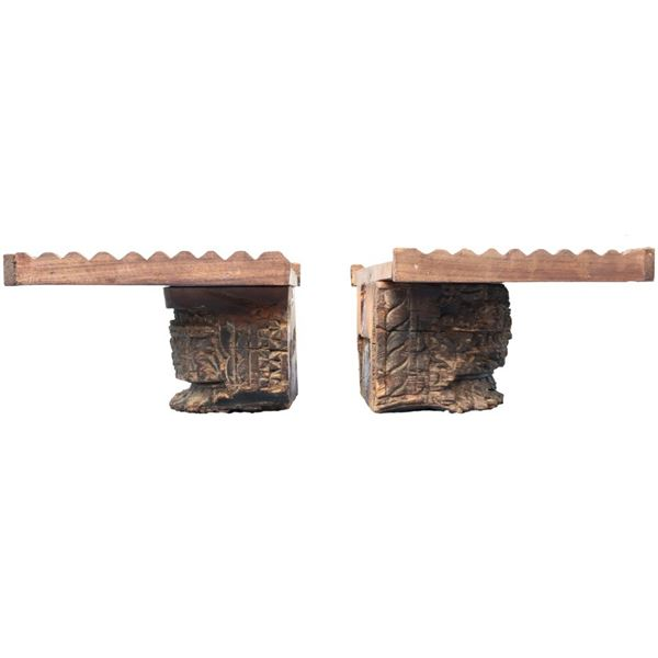 Pair of Wooden Carved Shelve Sconces