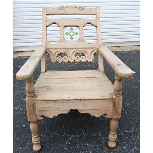 Antique Indian Carved  Wood Chair w Tile
