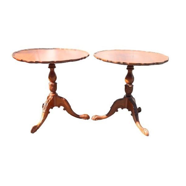 Pair of Tilt Top Piecrust Chippendale Tables