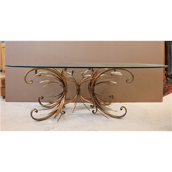 Italian Gilt Metal Coffee Table Circa 1960s-70s