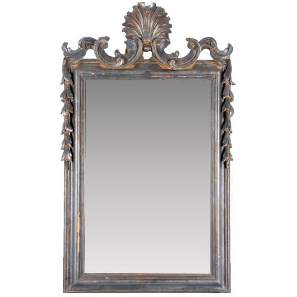 Carved Wooden Frame w Beveled Mirror