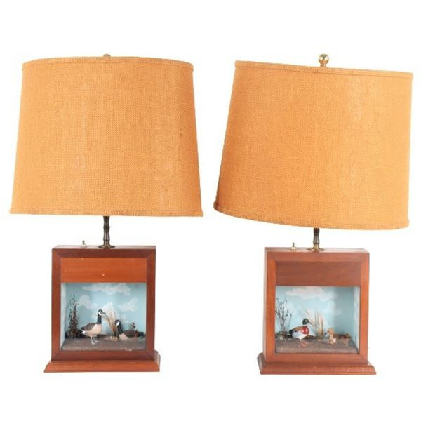 Pair of Vintage Table Lamps w Diorama Bases