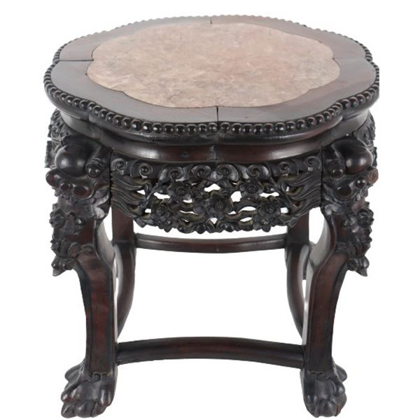 Chinese Wooden Hand Carved Table w Marble Top