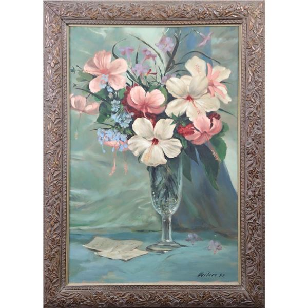 Still Life w/ Flowers, Signed, Oil/Canvas