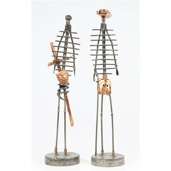 Pair of Mixed Metal Western Figural Art Sculptures