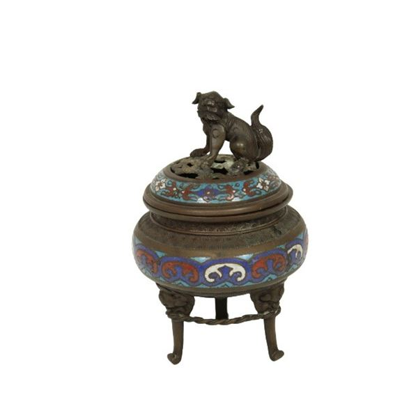 Asian Cloissone Incense Burner