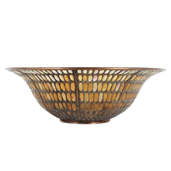 "Tony Carretta Blown Amber Glass ""Nimbus Bowl"""