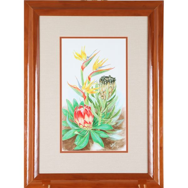 Signed Helga, Birds of Paradise W/C