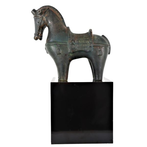 Chinese Tang Style Terracotta Horse on Base