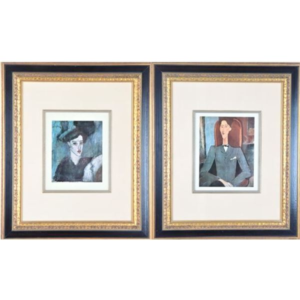 (2) Modigliani Prints, Portraits of Man & Woman