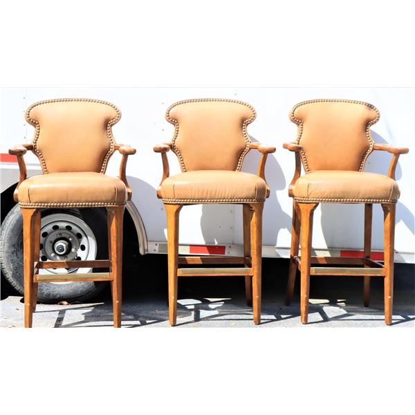 (3) High Top Carved & Leather Arm Chairs
