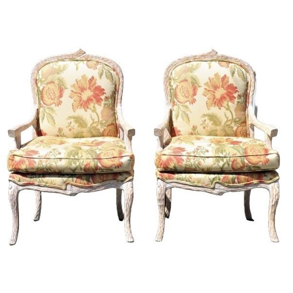 Pair of Hand-Carved Wooden & Upholstered Chairs