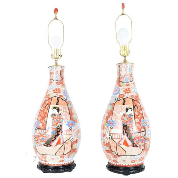 Pair of Japanese Kutani Porcelain Vase Lamps