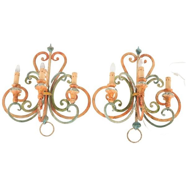 Pair of Polychrome Metal Wall Sconces