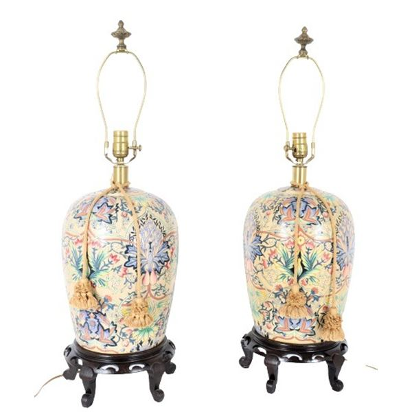 Pair of Chinese Porcelain Ginger Jar Lamps