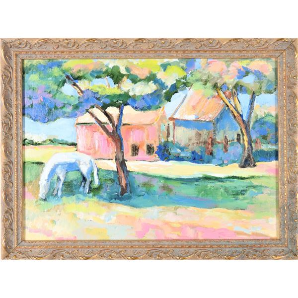 Impressionist Oil on Board, Horse & Barn