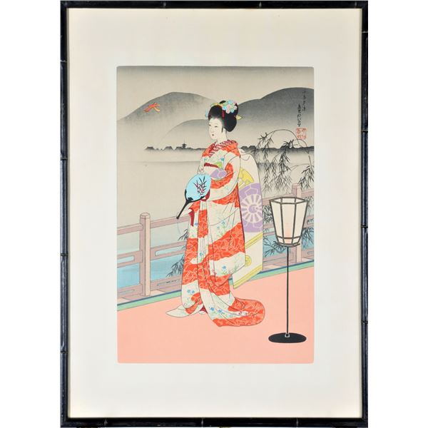 Vibrant Japanese Colored Woodblock Print