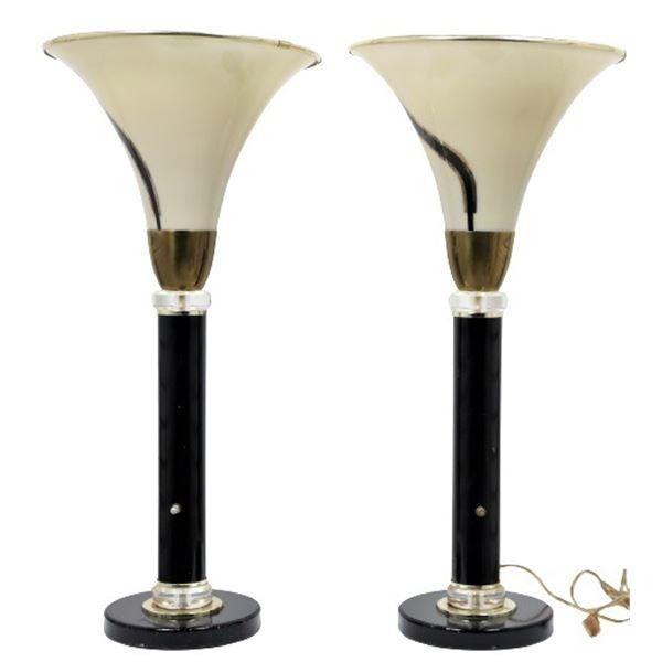 Pair of Large Art Deco Style Metallic Lamps