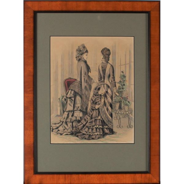 (14) Antique Print Fashion Plates, Framed
