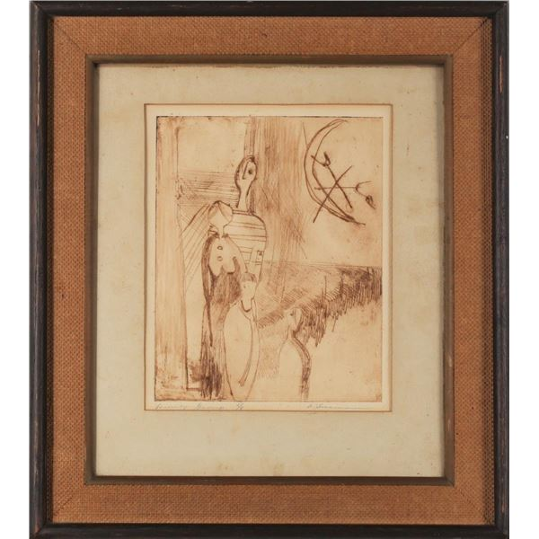Framed Etching, 'Family Group', Signed
