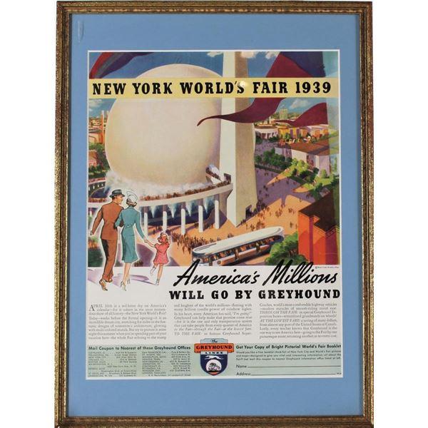 Framed Ad of 1939 New York World's Fair