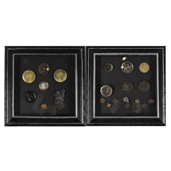(2) Vintage Button Collections, Framed