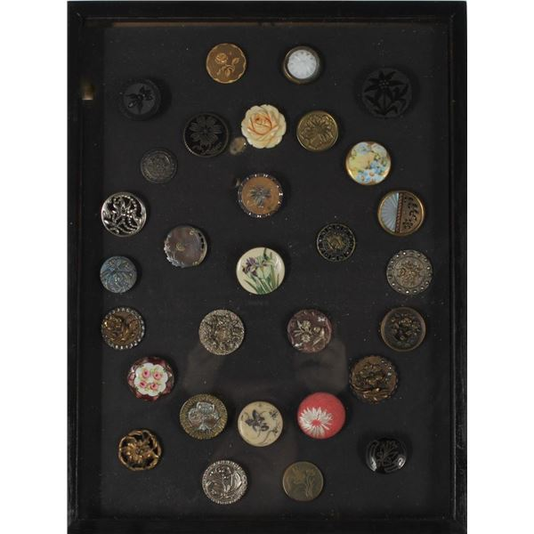 Framed Collection of Flower Buttons