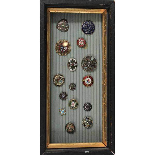 Framed Collection of Enameled Buttons