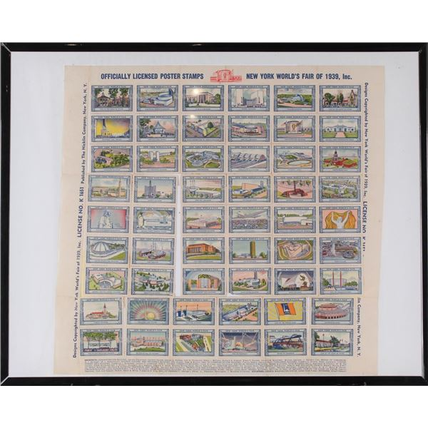 Sheet of Poster Stamps, NY World's Fair 1939