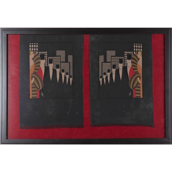 Erte Fabric Print Designs, Framed